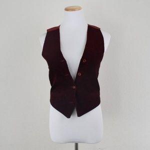 corduroy wine vest burgundy/ bohemian chic